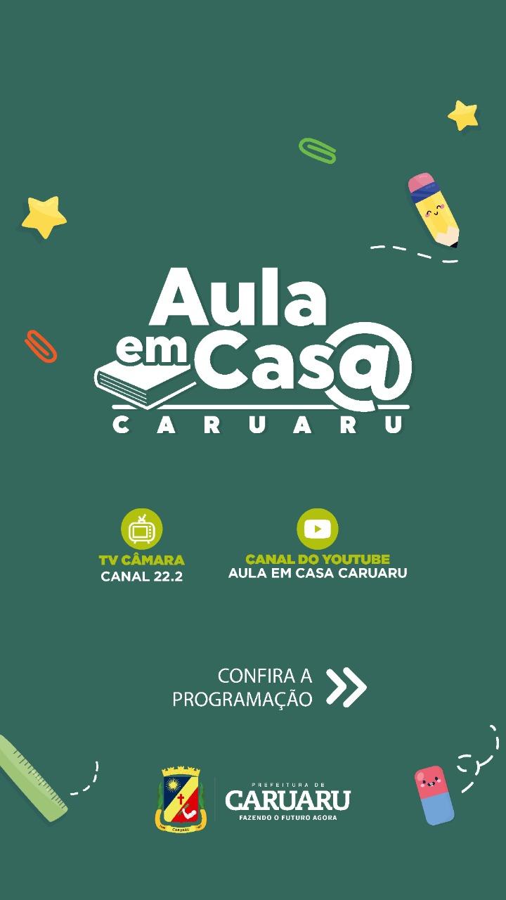 Confira a programação das aulas para os alunos da Rede Municipal de Ensino de Caruaru pela TV Câmara